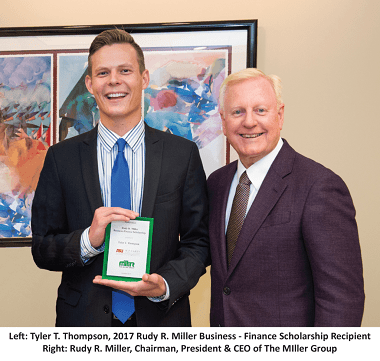The Miller Group Awards Tenth Annual Rudy R. Miller Business – Finance Scholarship to Arizona State University Senior
