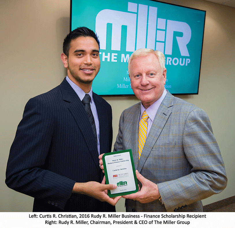 The Miller Group Announces Recipient of the Ninth Annual Rudy R. Miller Business – Finance Scholarship to Arizona State University Student