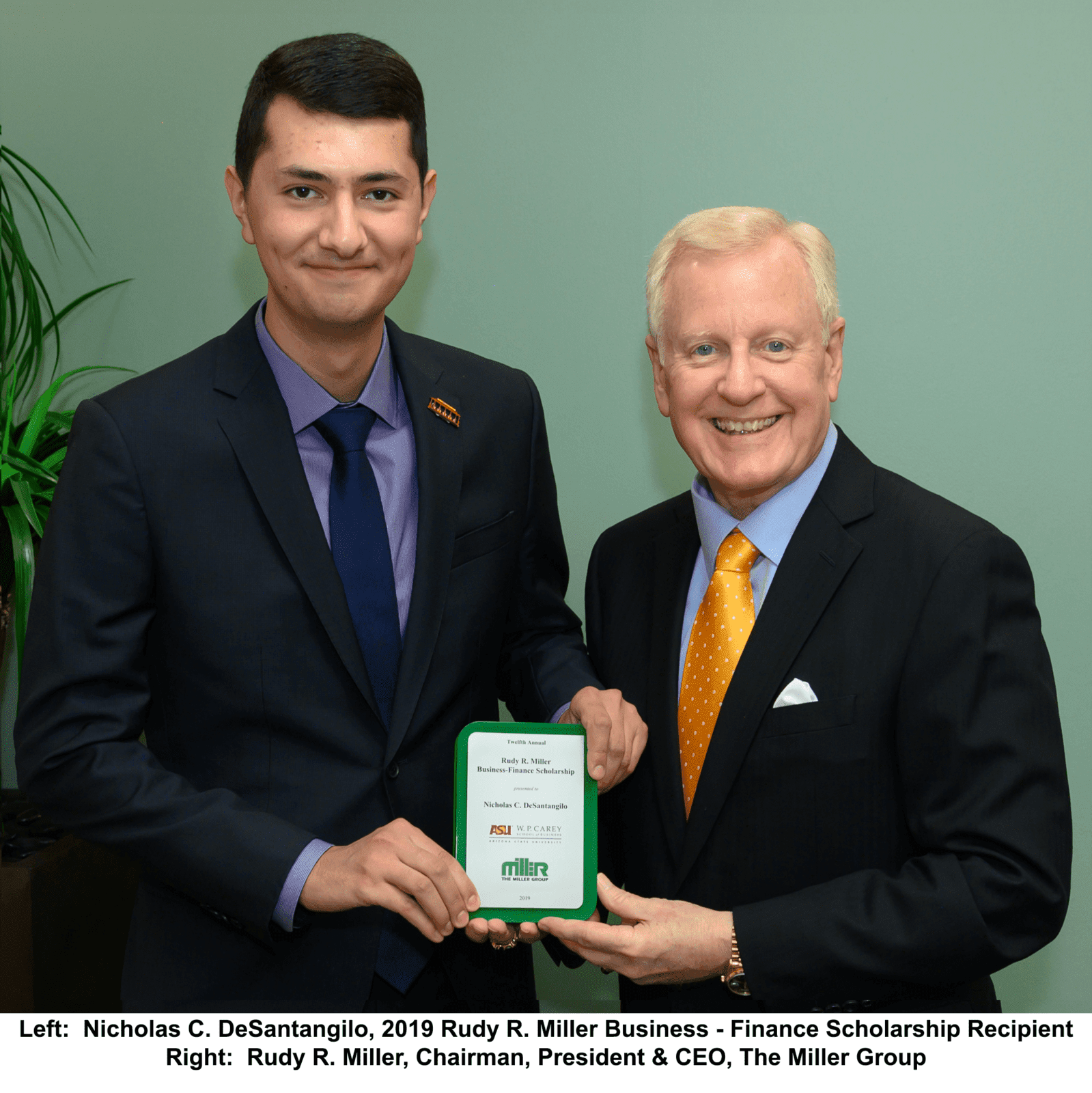 The Miller Group Awards Twelfth Annual Rudy R. Miller Business – Finance Scholarship to Arizona State University Senior