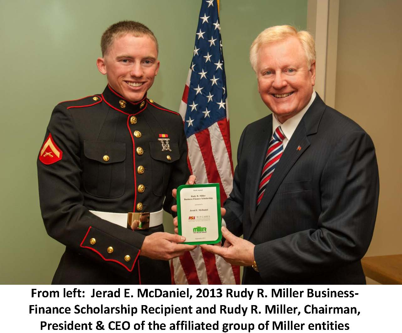 The Miller Group Awards Sixth Annual Rudy R. Miller Business – Finance Scholarship to Arizona State University Student and Member of the Military