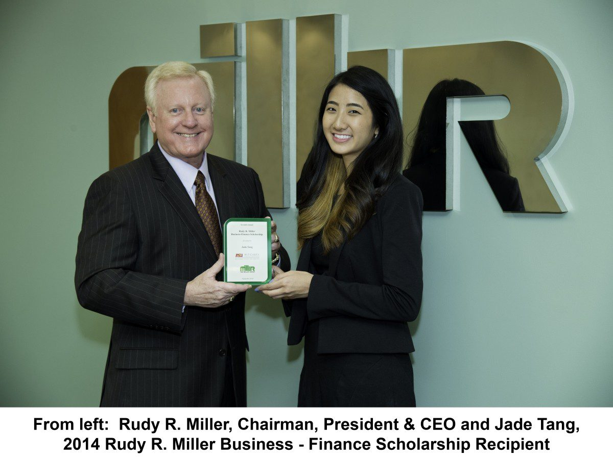 The Miller Group Awards Seventh Annual Rudy R. Miller Business – Finance Scholarship to Arizona State University Student