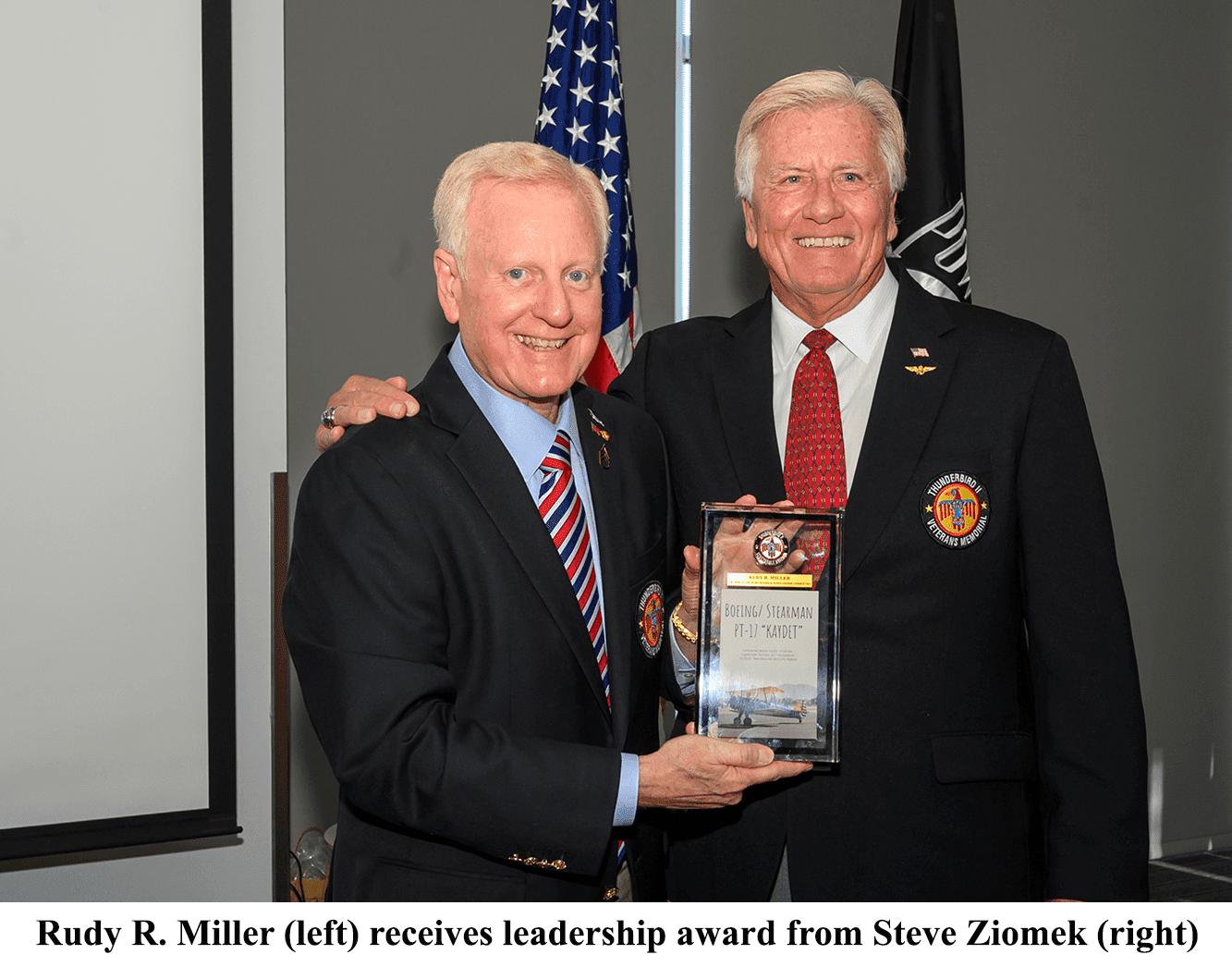 Rudy R. Miller Receives First Thunderbird Field II Veterans Memorial Leadership Appreciation Award