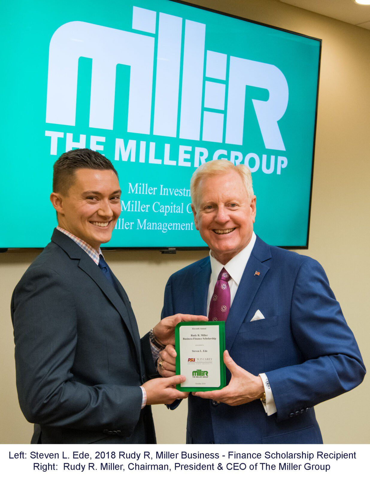 The Miller Group Awards Eleventh Annual Rudy R. Miller Business – Finance Scholarship to Arizona State University Student
